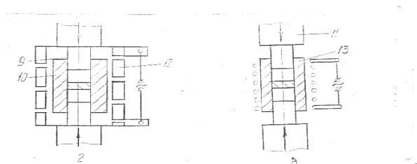 Рис. 12 Схема двухстороннего горячего прессования в прессформах : а - косвенный нагрев, б - прямой нагрев при подводе...