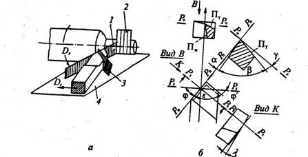 Рис. 2. Геометрические параметры токарного резца. а - координатные плоскости:1- плоскость резания Рп; 2 - рабочая...