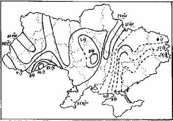 Рис.3. Карта начала осенней миграции белого аиста на территории Украины (по:Грищенко, Серебряков, 1992) .
