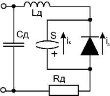 Рис.1. Эквивалентная схема инерционного диода состоит из безынерционного диода, включенного параллельно с накопителем...