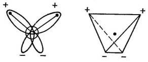 орбиталях, смещены относительно ядра атома и создают два отрицательных полюса. sp3.