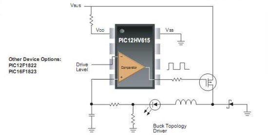 Рис. 6. Пример использования PIC12HV615 в светодиодной RGB схеме.  Некоторые контроллеры, такие как PIC16F616 имеют...