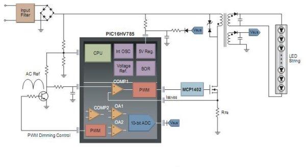 Плата...  Рис. 8. Схема повышающего светодиодного драйвера на MCP1630.